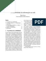 A credibilidade da informação na web (Paulo Serra)