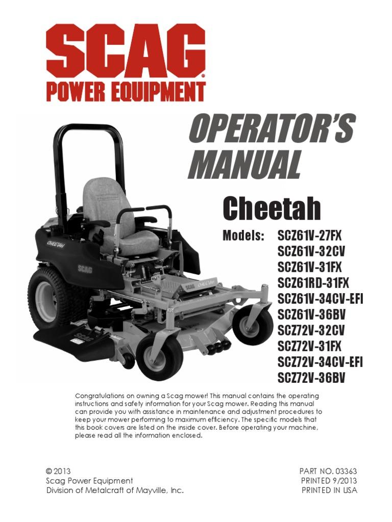 scz cheetah manual book 03363 carburetor mower rh scribd com scag patriot owner's manual