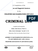 2007-2013 Criminal Law Philippine Bar Examination Questions and Suggested Answers (JayArhSals&Rollan)