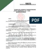 Decreto 5923-00 Regimen Unificado de Licencias