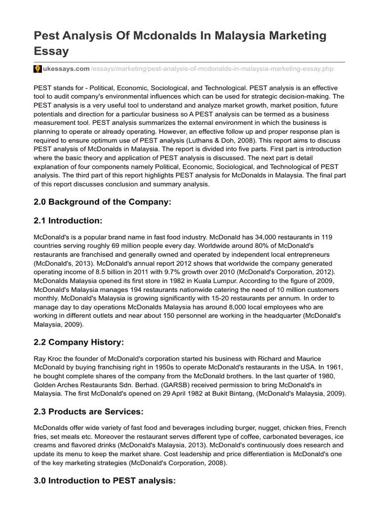 business environmental analysis of mcdonalds This pestle analysis will examine the political, economic, socio-cultural, technological, legal and environmental factors of mcdonald's external environment.