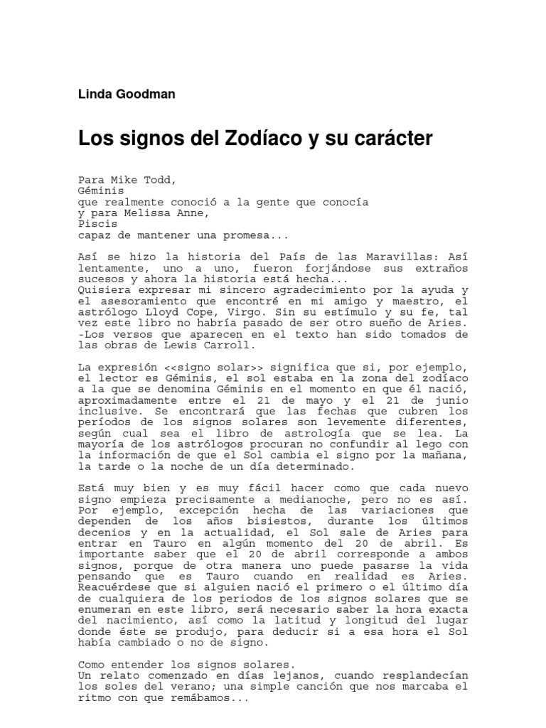 promo code 7f247 e9597 Goodman, Linda - Los Signos del Zodíaco y su caracter