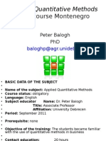 Applied Quantitative Methods1 by Peter B