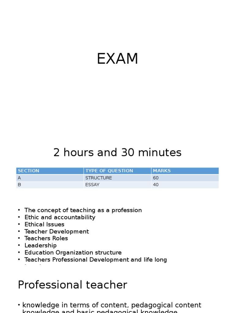 Discussion  Exam | Teachers | Leadership