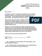 the snow queen parent letter