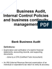 Business Bank Audit, Internal Control Policies and Business Continuity Management