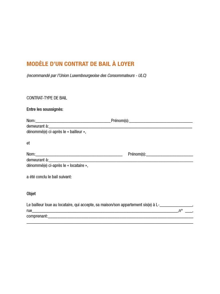 Modele Contrat De Bail Condominium Affaires