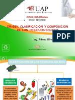 Origen, Clasificacion de Residuos solidos
