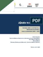 Informe Sobre La Gestión de La Defensoría Del Pueblo Para El Quinquenio 2007-2012