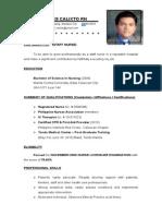 Staff Nurse Resume (Long) Nikko R. Calixto