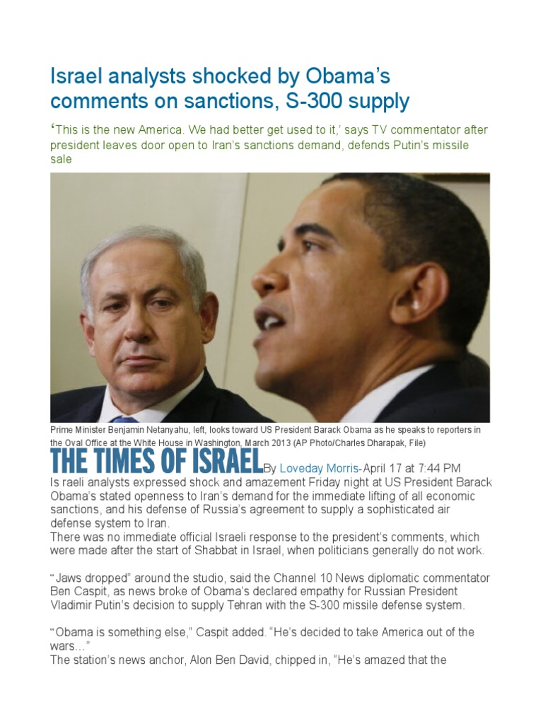 Israel Analysts Shocked by Obama's Comments on Sanctions, S-300