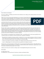 Colorado State Veterinary School letter to students and staff
