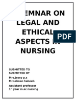 A Seminar on Legal and Ethical aspect of nursing