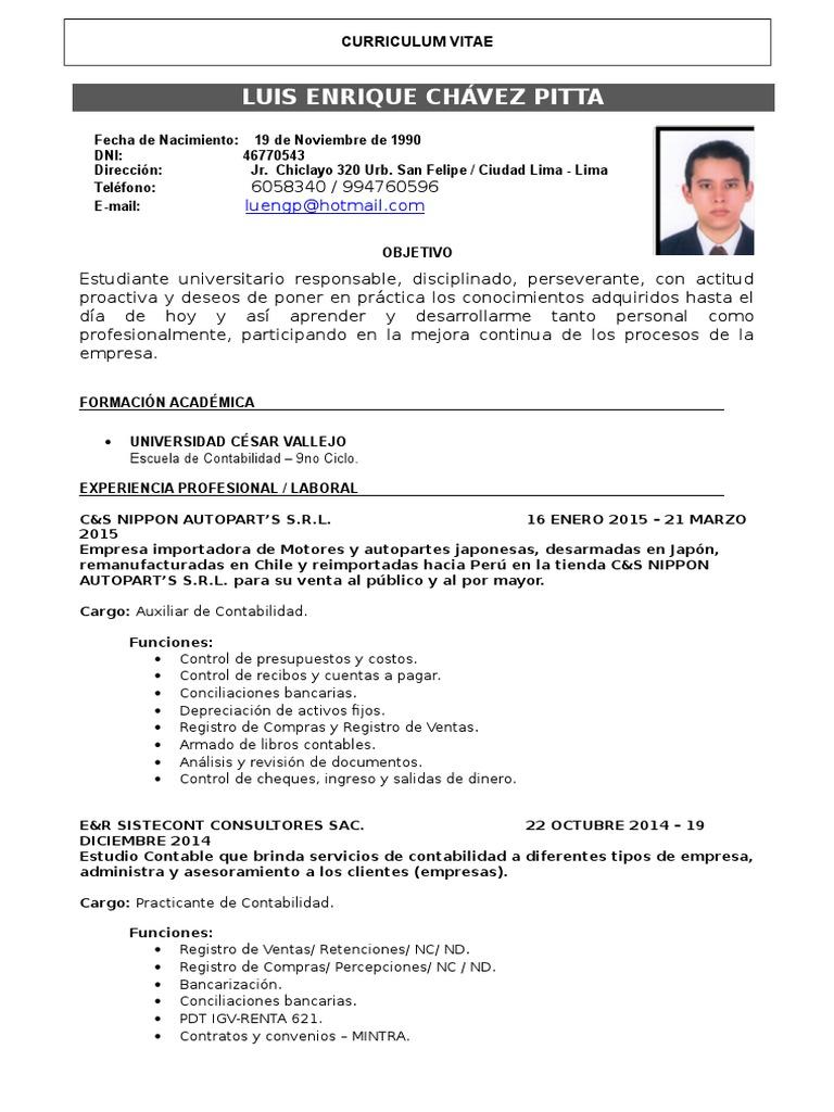 Excelente Currículum Vitae De La Empresa De Contabilidad Foto ...