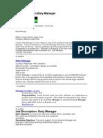 Job Description Duty Manager