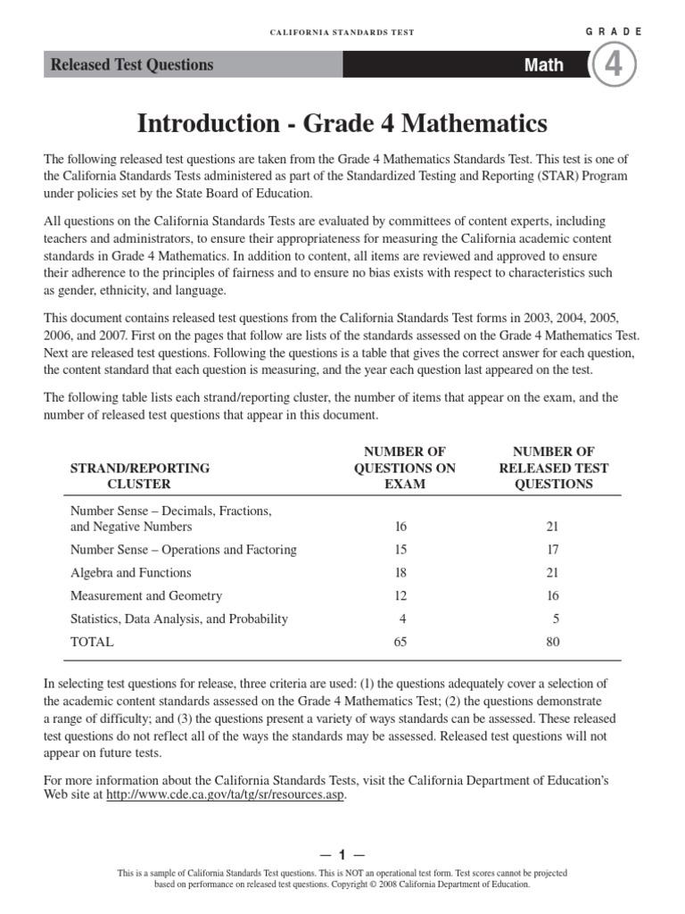 Grade 4 mathematics exam   Decimal   Fraction (Mathematics)