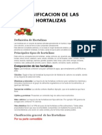 Clasificacion de Las Hortalizas