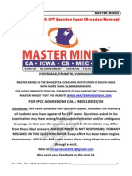 Dec -2014 CA-CPT Question Paper Mastermind Institute