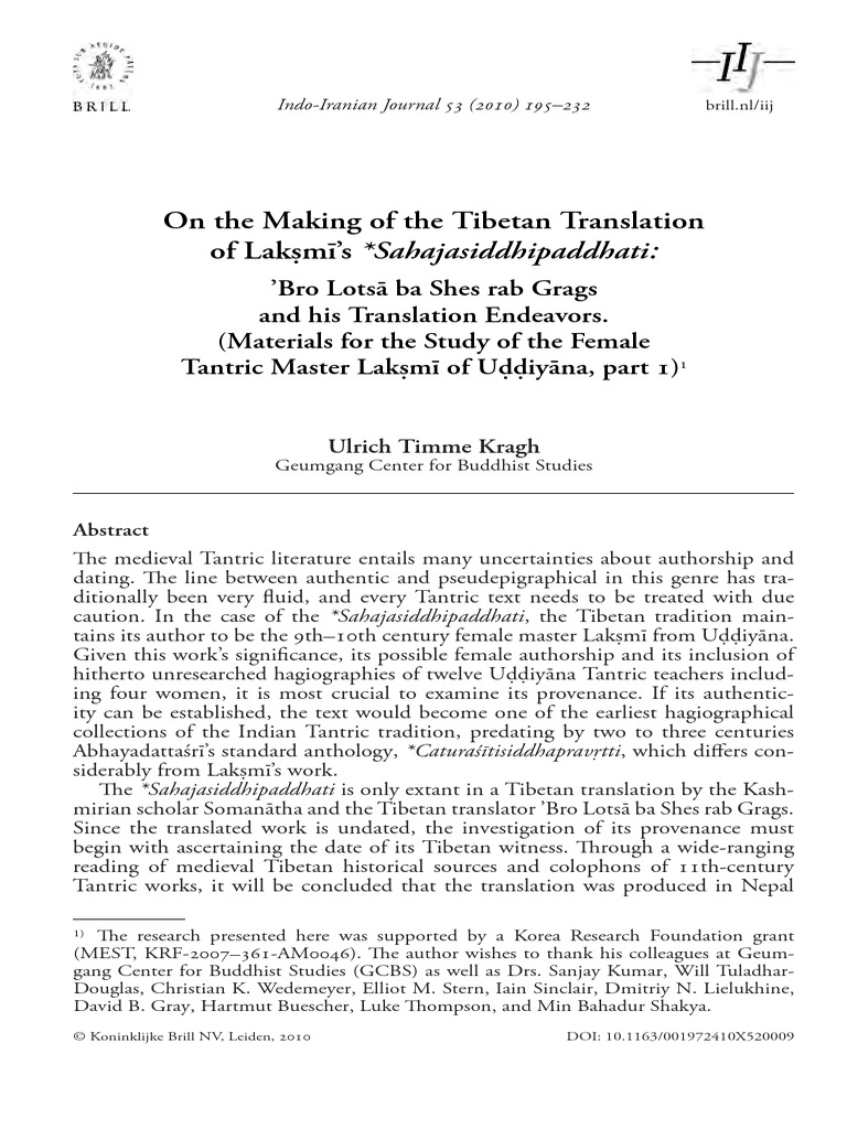 On the making of the tibetan translation of lak m s sahajasiddhipaddhati pdf vajrayana indian religions