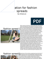 Evaluation for Fashion Spreads