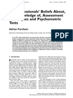 HR Knowledge of Testing (Furnham, 2008)