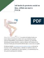 La Desigualdad Incita La Protesta Social en América Latina, Señala Un Nuevo Informe Del PNUD
