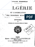 Passols Antoine-Vincent - L'Algérie Et l'Assimilation Des Indigènes Musulmans