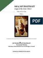 Afuraka Afuraitkait - The Origins of the Term Africa