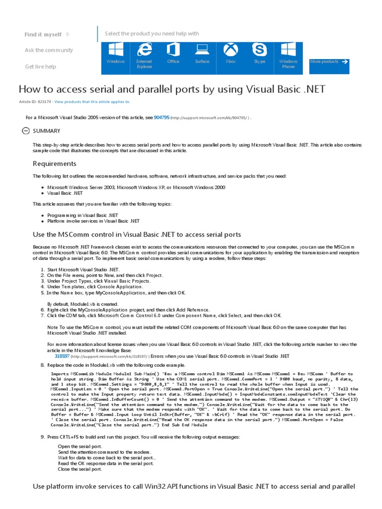 How to Access Serial and Parallel Ports by Using Visual