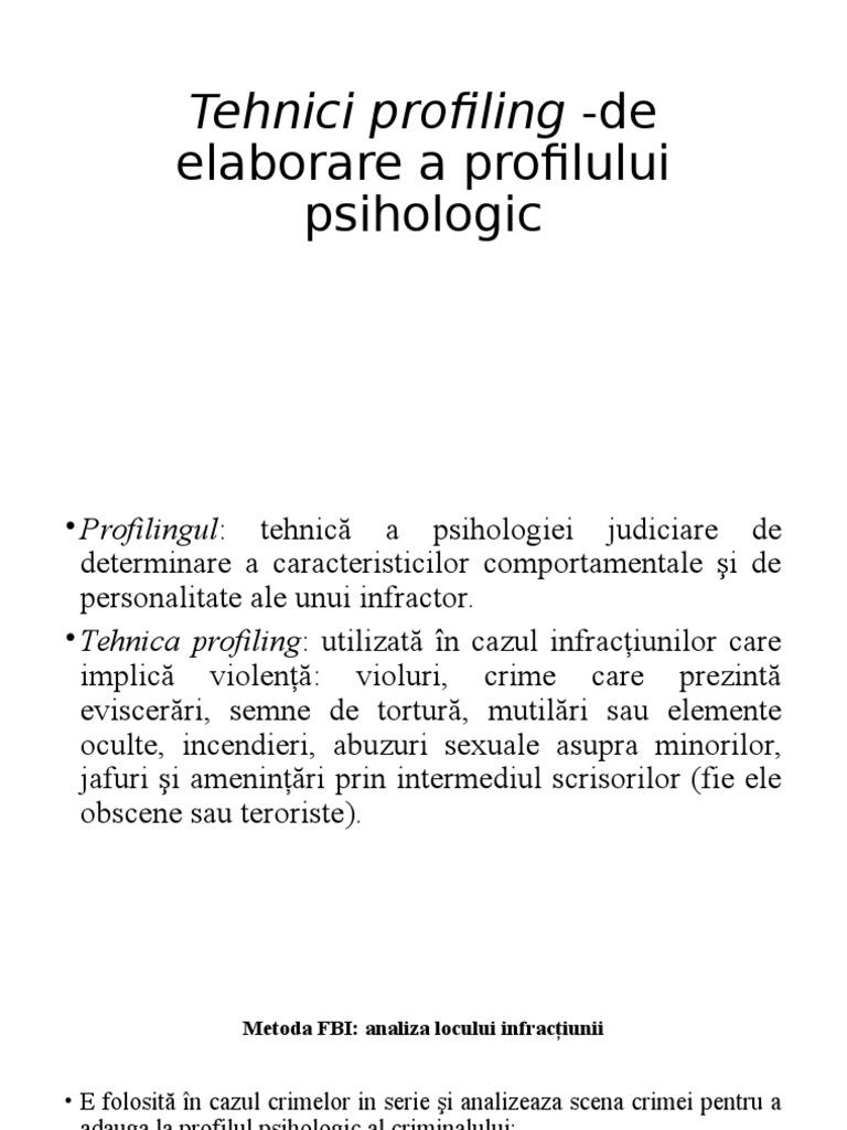 Exemplu de profil de intalnire a titlului profilului
