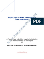 Project Paper on ATM & CDM Services of BRAC Bank Limited
