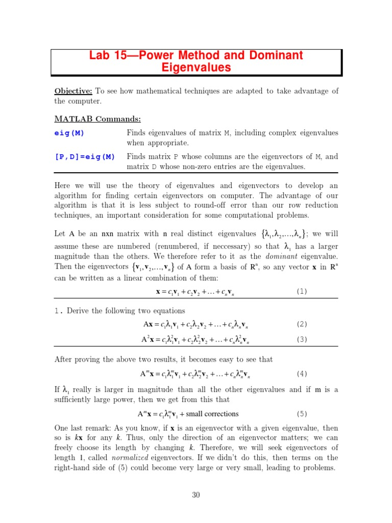 Power method and Dominant Eigenvalues   Eigenvalues And