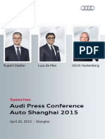 Speeches, Audi Press Conference, Shanghai Motor Show 2015, April 20, 2015