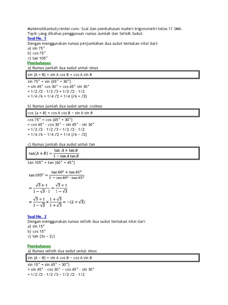 Soal Soal Trigonometri Matematika Sma Kelas Xi
