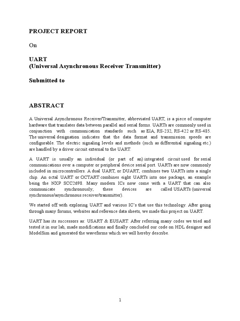 Project Report Uart | Telecommunications Engineering | Media Technology