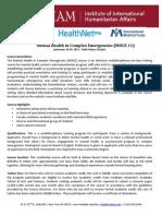 Mental Health in Complex Emergencies (MHCE 11)