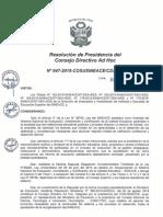 Resolución N°047-2015-COSUSINEACE-CDAH-P