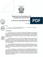 Resolución N°049-2015-COSUSINEACE-CDAH-P