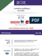 Baromètre Politique Odoxa-L'Express-Presse Régionale-France Inter - Avri...