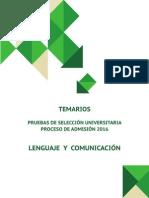 temario psu lenguaje 2016