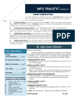 Info-TRACEESS Numéro 31, le 20 avril 2015
