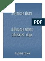 Informacioni Sistemi- Definisanost i Uloga