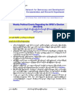 Weekly Political Events Regarding the SPDC's Election