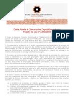 Carta Aberta àCâmara dos Deputados sobre o PL nº 4330