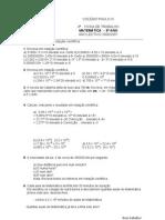 Ficha de trabalho- notação científica