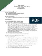 teaching resume jthackray
