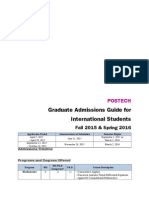 POSTECH Graduate Admissions Guide for International Students (Fall 2015 & Spring 2016)