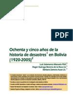 85 años de la historia de desastres en bolivia
