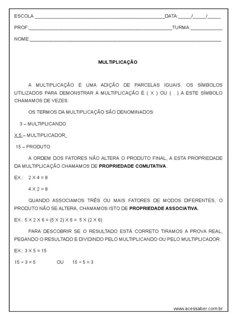 Atividade De Matematica Multiplicacao 4º Ou 5º Ano Respostas Doc