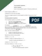 Quadratic Equations Booklet